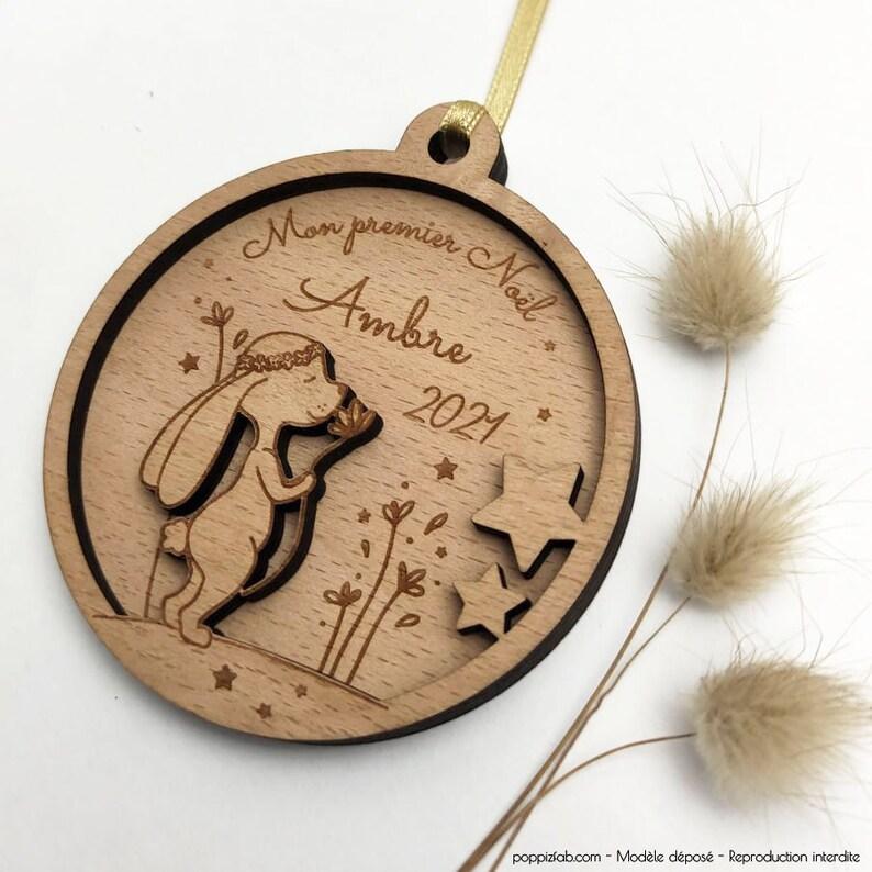 Boule de Noël lapin personnalisée - Créatrice ETSY : PoppizFab
