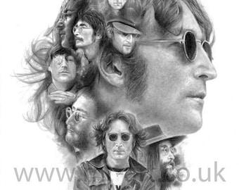 John Lennon Pencil Montage Print