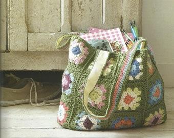Vintage Crochet Pattern for  a Patchwork Bag. Crochet bag, patchwork bag,  crochet shopper, bag,