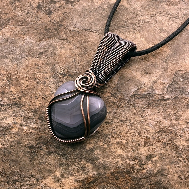 wire weave pendant 513 Botswana Agate Heart wrapped in bare copper wire wire wrapped necklace wire wrapped pendant wire wrapped jewelry