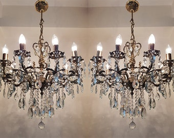 Antique chandelier etsy a pair of antique vintage 10 arms 10 lights cast brass crystals cherub chandelier ceiling light pendant lighting lamp from 1950s aloadofball Images