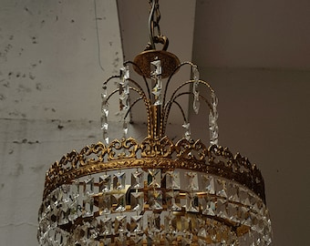 Crystal chandelier etsy vintage french brass crystals chandelier ceiling light pendant lighting glass lamp from 1970s aloadofball Images