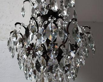 Crystal chandelier lighting etsy antique vintage spider style cast brass crystals chandelier ceiling light pendant lighting glass lamp from 1940s aloadofball Images