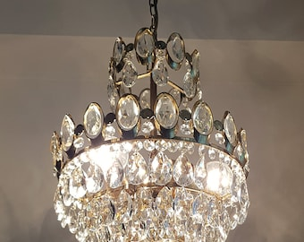 French chandelier etsy vintage antique french basket style brass crystals chandelier ceiling light pendant lighting glass lamp from 1970s aloadofball Gallery