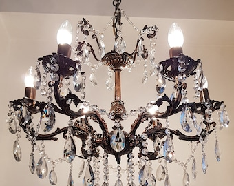Crystal chandelier etsy antique vintage 6 arms 6 lights cast brass crystals chandelier ceiling light pendant lighting glass lamp from 1950s aloadofball Images