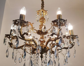 Crystal chandelier lighting etsy antique vintage 6 arms 6 lights cast brass crystals chandelier ceiling light pendant lighting glass lamp from 1950s aloadofball Images