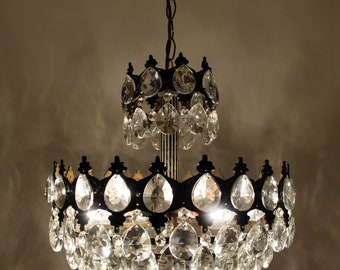 Crystal chandelier etsy antique vintage french style brass crystals chandelier ceiling light pendant lighting glass lamp from 1950s aloadofball Images
