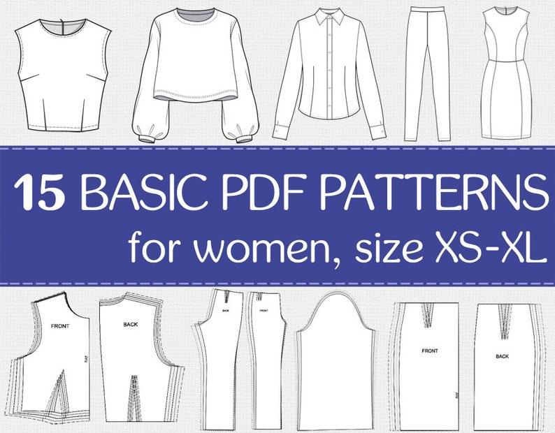 15 basic PDF sewing patterns for women  PDF patterns for image 0