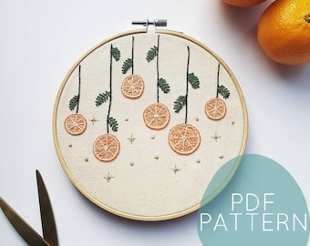 Christmas Oranges Embroidery Design Download, Beginner Embroidery, Christmas Embroidery PDF Pattern/Hand Embroidery/DIY Christmas decoration