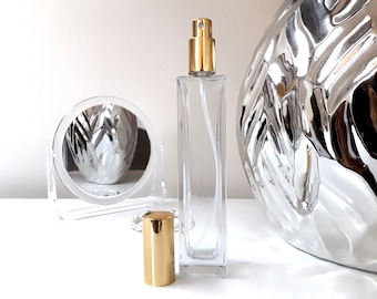 Pink Perfume Golden Spray Clear Glass