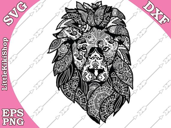 Zentangle Lion Svg Mandala Lion Svg Zentangle Etsy