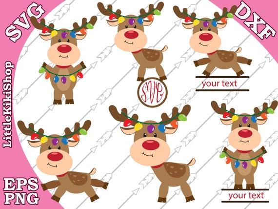Reindeer Lights Svg Christmas Reindeer Svg Etsy