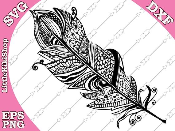 Zentangle Feather Svg Mandala Feather Svg Etsy