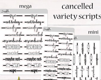 FOIL OPTIONS! CANCELLED Variety Scripts   Cancelled, Rescheduled, Nope Stickers   Planner, Journal and Agenda Stickers   Foil Stickers