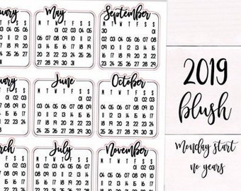 Foil Options   MONDAY START 2019 Calendar Script Stickers   Planner, Agenda & Bullet Journal Stickers   Foil Stickers