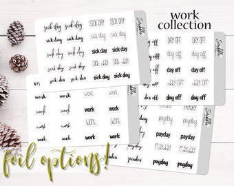 Work Life Script Stickers   Mini Word Stickers   Payday, Day Off, Sick Day   Planner, Journal and Agenda Stickers   Foil Stickers