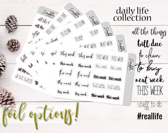 Daily Life Script Stickers   Mini Word Stickers   This Week, To Do, Bill Due   Planner, Journal and Agenda Stickers   Foil Stickers