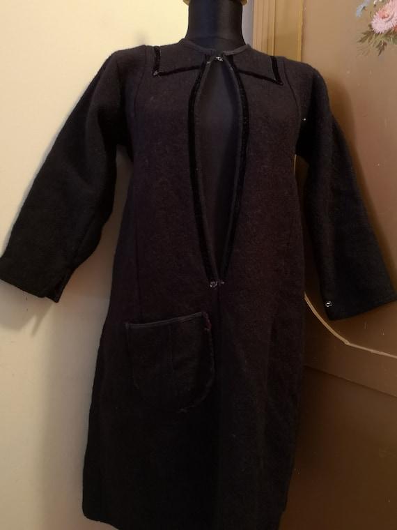 Retro women's long coat, handmade long coat
