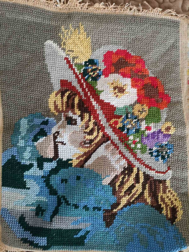 Girl with a flowers hat Finished gobelin needlepoint