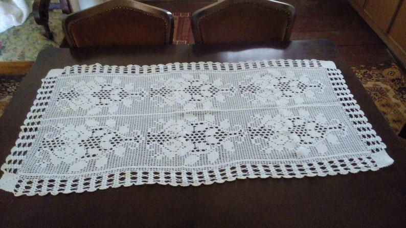 Etsy & Tablecloth Centerpiece. Small Tablecloth Hand Knit Table Runner Vintage Table Cover Small Table Linen Snow White Table cover