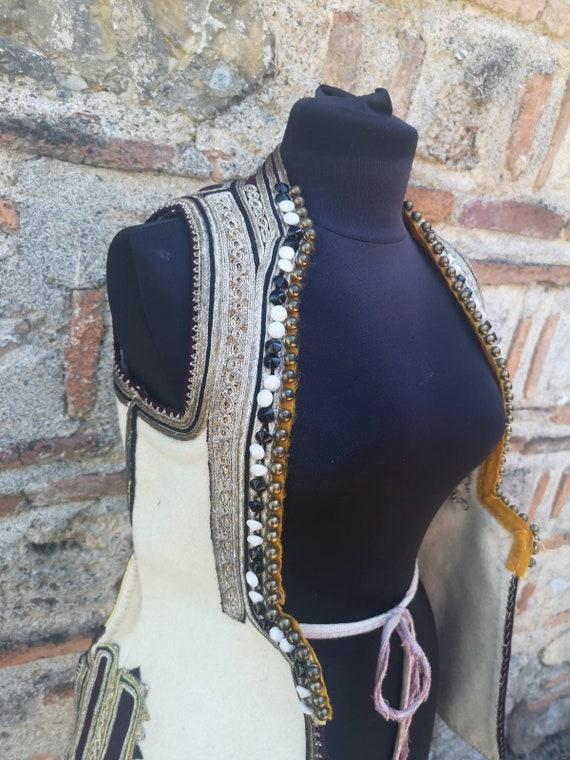 Hand embroidered antique long vest, vest - 'klasen