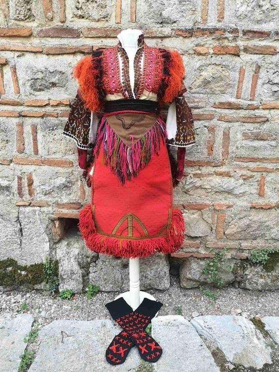 Rare antique women's ethnic costume from Mariovo