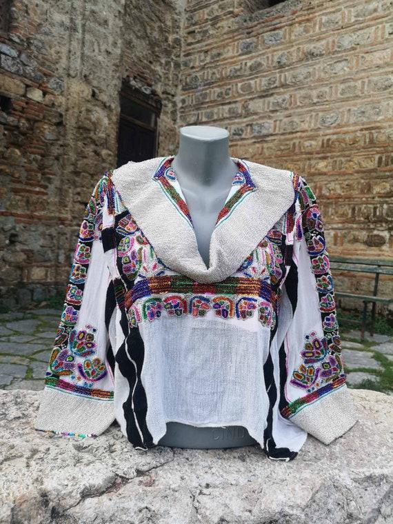 Hand embroidered unique vintage blouse, linen embr