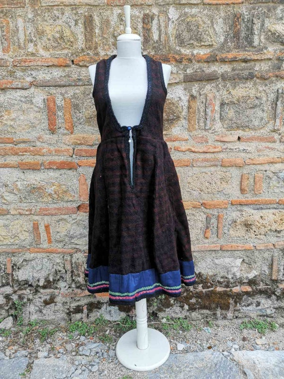 Handmade antique long dress, antique ethic woolen