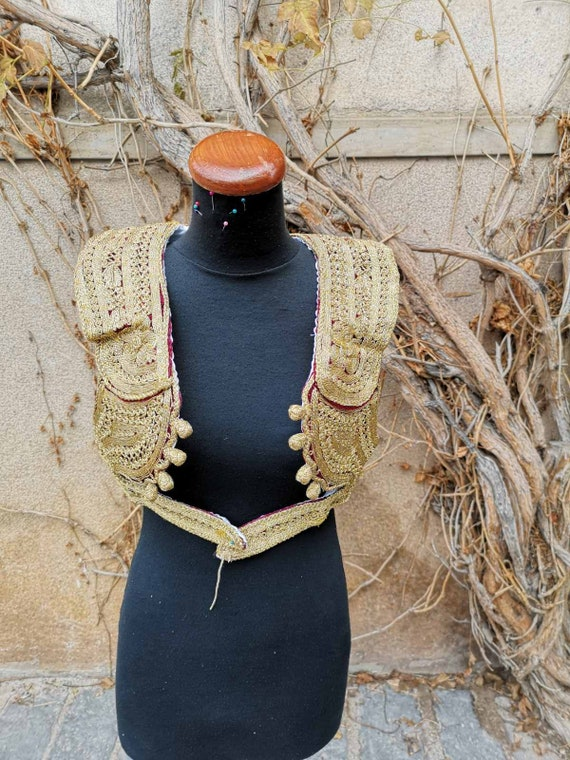 Gold embroidery women's vest, vintage gold embroid