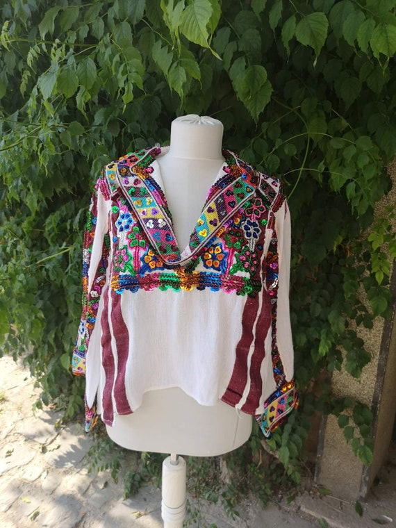 Hand embroidered unique blouse, beads embroidered