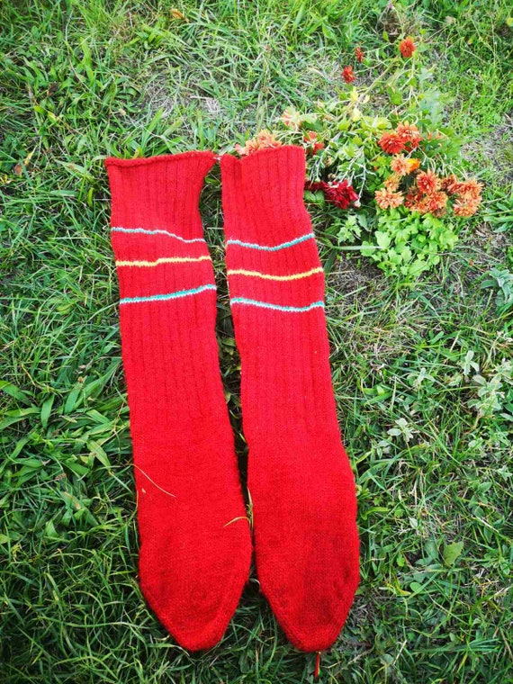 Men's hand knitted large size socks, hand knit red