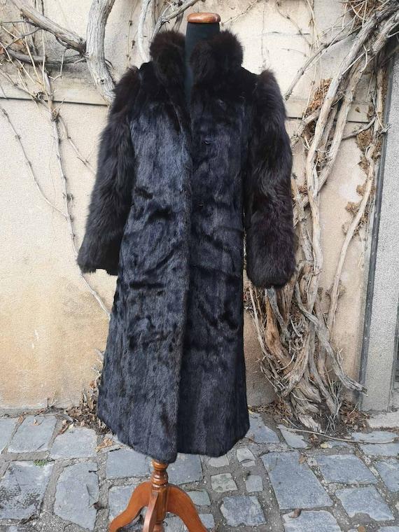 Vintage black fur coat, long retro fur coat, genui