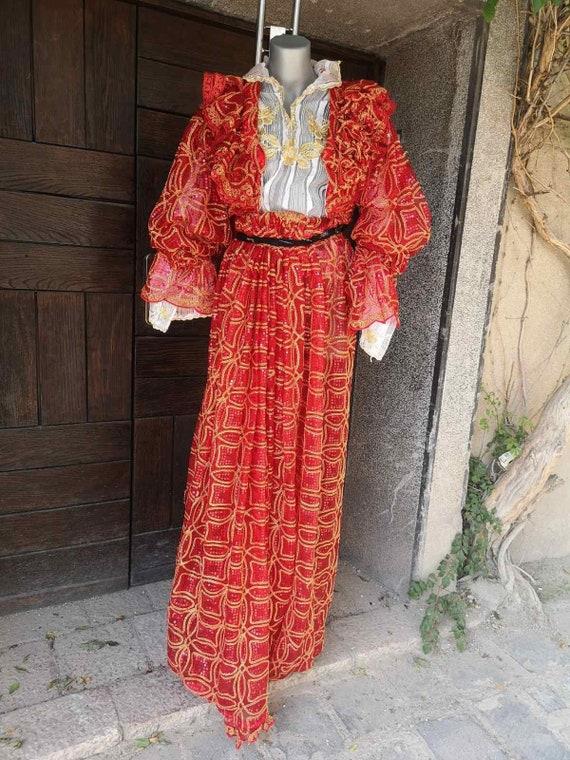 Vintage red ethnic women's costume, gipsy ethnic c