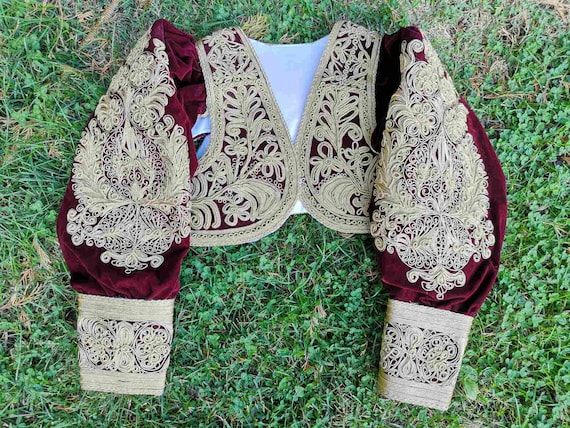Gold thread hand embroidered coat, vintage Ottoman