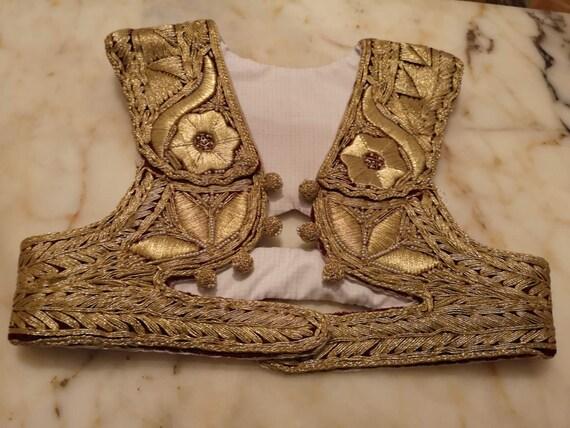 Vintage embroidered gold thread vest, women's gold