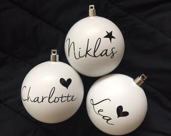 f61f868dba Christmas balls with name, 4-set, personalized Christmas tree balls, white,  Christmas tree, fir tree, Christmas decorations, tree decorations
