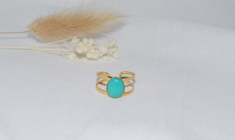 Adjustable ring gilded with fine gold with its turquoise jade stone for her