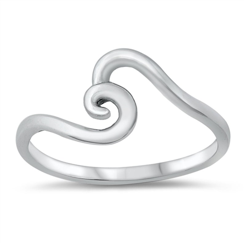 Handcrafted Silver Wave Ring Plain Silver Jewelry Plain Silver Ring Handmade Silver Wave Ring 925 Sterling Silver Swirl Wave Ring