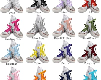 reputable site 1ce8c c19a2 Satin Ribbon Shoelaces In White,  Black,Pink,Red,Purple,Gold,Khaki,Silver,Rosegold,Dot and more! For Wedding  Converse Trainers Dr Martins