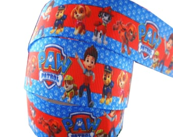 Blue Edge Paw Patrol And Character 2m X 22mm Ribbon For Birthday Cakes Gift Wrap Wrapping Chase Rubble Rocky Marshall