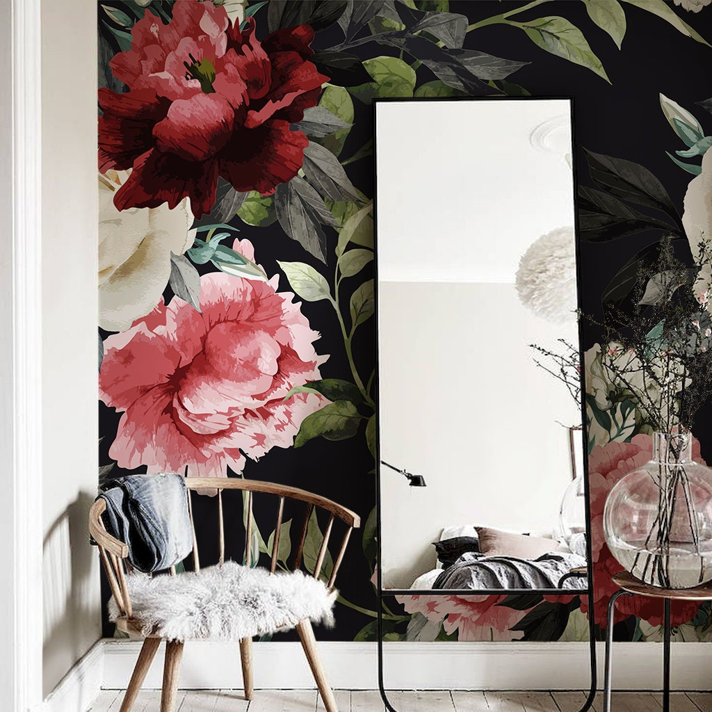 Dark Floral Wallpaper Peonies Wall Decor Flowers Mural With Etsy