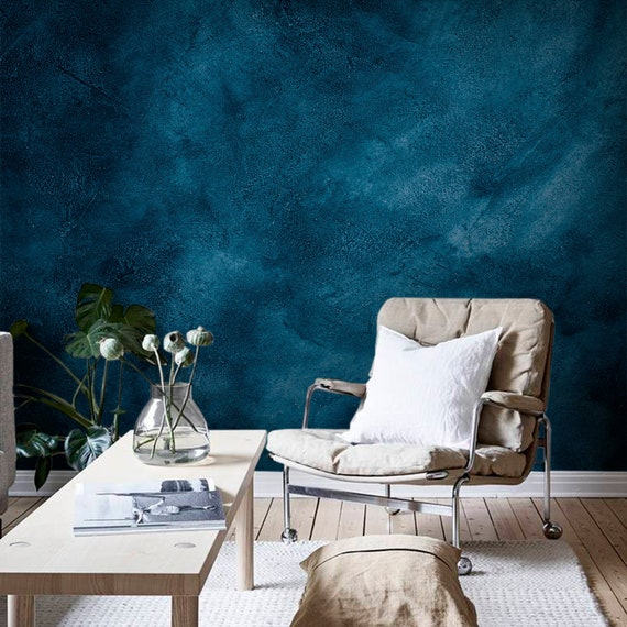 Dark Blue Grunge Wall Mural Peel And Stick Wallpaper Black Etsy