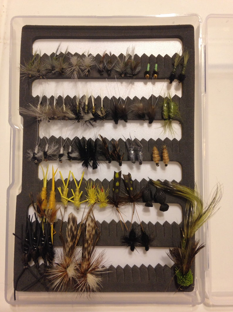 Assorted GR Tailwater Kit Hand Tied Premium Trout Fishing Flies with Fly Box Included!