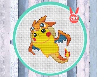 Kawaii cross stitch pattern, dragon cross stitch, cartoon cross stitch, fun cross stitch,  hoop embroidery, Instant download PDF