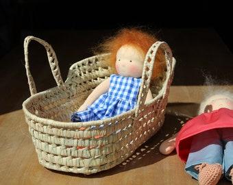 Doll carrying basket Moses basket Palm leaf 40 cm