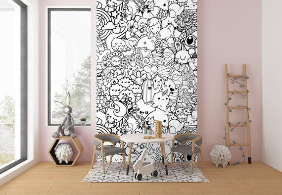 Kids Room Doodles Wallpaper Nursery Wall Murals Black White Wallpaper Modern Home Decor Wallpaper Coloring Wallpaper No Lazy Wallpapers