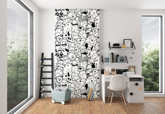 Kids Room Doodles Wallpaper Nursery Wall Murals Black White Wallpaper Modern Home Decor Wallpaper Coloring Wallpaper No Lazy Wallpapers