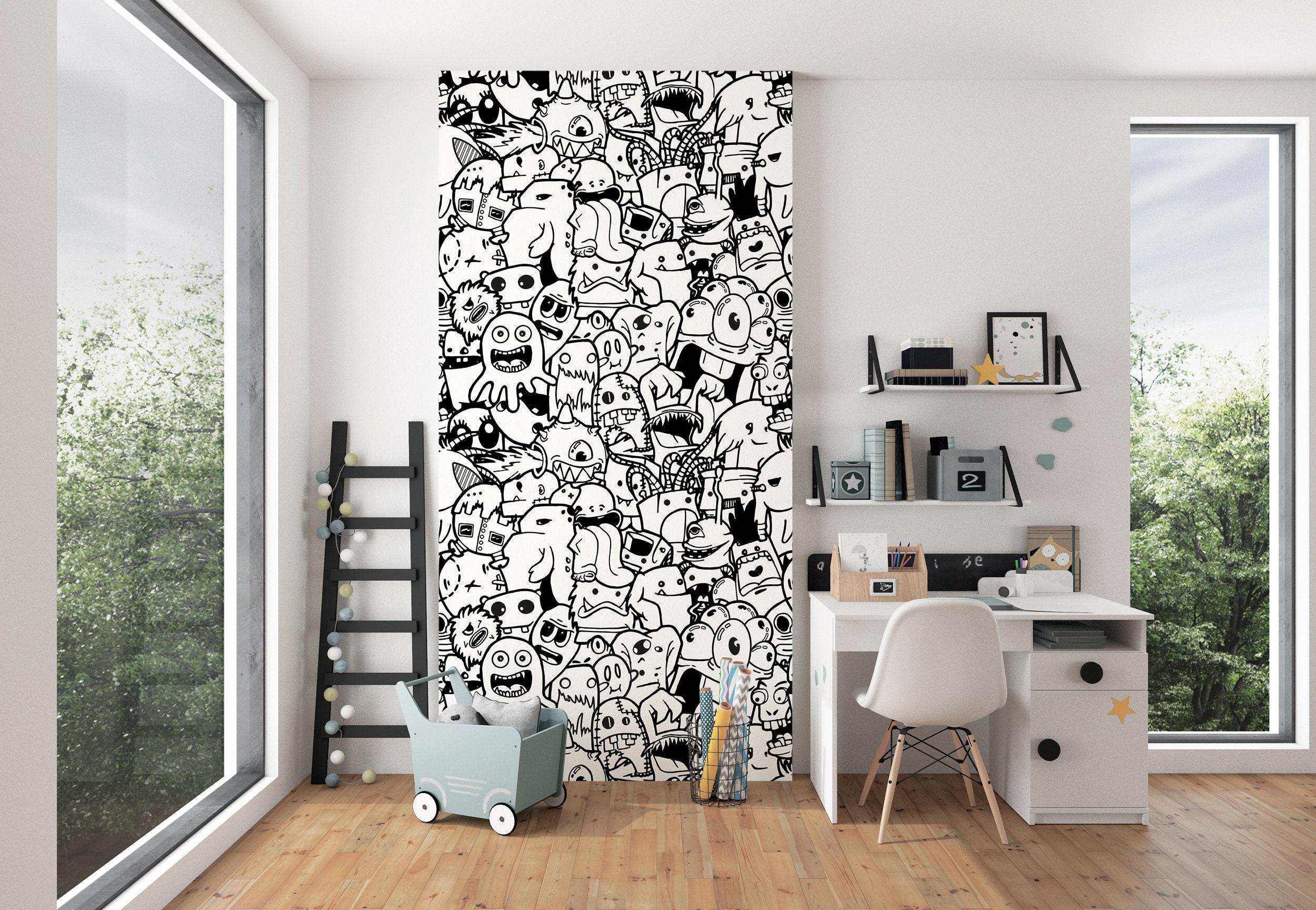 Kids Room Doodles Wallpaper Nursery Wall Murals Black White Etsy