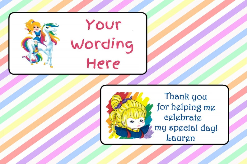 Rainbow Brite Party Labels For Invitations And Birthday