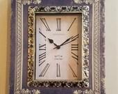 Book Table Clock Antique Design Gorgeous Roman Numeral Silver Blue